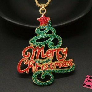 Betsey Johnson Merry Christmas Tree Necklace